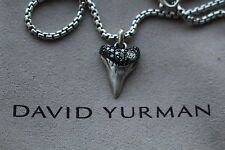 David Yurman men's Petrvs Shark Tooth pendant with black diamonds and chain 22""