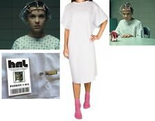 STRANGER THINGS Eleven Elle HNL HOSPITAL GOWN  & BADGE Costume Halloween Cosplay