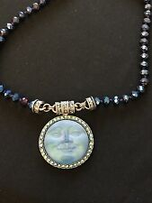 Kirks Folly Seaview Moon Magnetic Enhancer Necklace w/ Blue Chain &  AB crystals