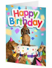Dachshund sausage dog emerges from cake surrounded by dog friends Birthday card