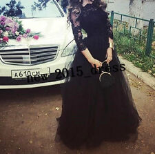 New 2017 Black  3/4Sleeve Long Prom Dress Formal Party Ball  Evening Dresses