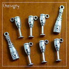 Champagne charm set of 8~ bottle glass flute celebration Tibetan silver gift
