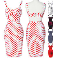 STRAPPY CHARM 1950s 50'S RETRO VINTAGE POLKA DOT PENCIL WIGGLE DRESS