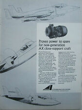 2/1970 PUB AVCO LYCOMING AX CLOSE SUPPORT FIGHTER LTC4B-12 ENGINE ORIGINAL AD