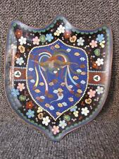 ANTIQUE CHINESE CLOISONNE CARD TRAY in FORM OF A SHIELD
