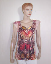 BEAUTIFUL ONEWORLD ONE WORLD SUBLIMATION BUTTERFLY STUDDED BUTTON NECKLINE TOP M