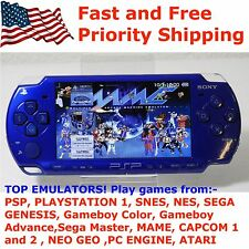 Sony PSP 2001 BLUE Handheld System Modded 64GB Custom Firmware Retro Emulator