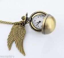 Harry Potter Watch Golden Snitch Clock Necklace Costume Jewellery Quiditch Wings