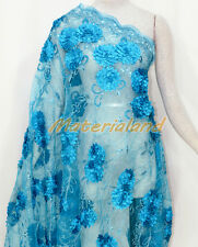 By meter Turquoise Satin Flower Embroided Sequinned Lace Net Crafts Fabric FA01D
