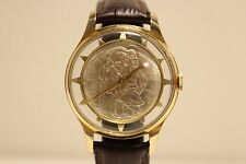 VINTAGE GOLD PLATED SKELETON MECHANICAL SWISS MEN'S WATCH WITH ST.CHRISTOPHER