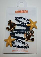 New Gymboree Cape Cod Cutie Line Anchors & Starfish Hair Snap Clip 4 Pack NWT
