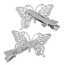 2 x  SILVER TONE BUTTERFLY HAIR  CLIPS ADD GEMS ETC .....99p