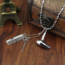 Women's Fashion Silver Hairdresser Scissors Comb Stylist Pendant Chain Necklace