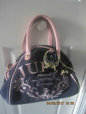 Juicy Couture Women,s blue velvet pink leather handbag bag