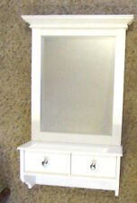 Vintage Art Deco Solid Wood Beveled Stylish Mirror with 2 Drawers
