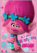 Trolls Movie Poppy Birthday Card A5 Personalised with own words A5