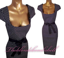 40s 50s Couture Style Polka Dot Galaxy Wiggle Rockabilly Pencil Pinup Dress UK8