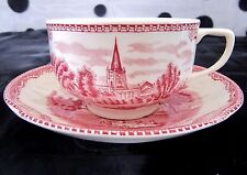 Footed Cup & Saucer Set in Old Britain Castles Pink (Johnson Brothers)
