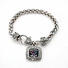 Grandma Of An Angel Classic Silver Plated Square Crystal Charm Bracelet