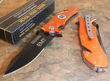 TAC-FORCE Assisted Opening EMT ORANGE Belt Cutter Glass Breaker Rescue Knife NEW
