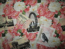 VINTAGE PARIS BONJOUR POST CARDS EIFFEL TOWER FLOWERS COTTON FABRIC FQ