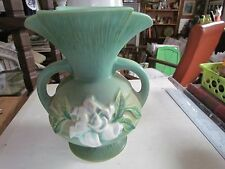 GREEN ROSEVILLE POTTERY TWO HANDLED VASE MARKED USA 684-8 GARDENIA AWESOME
