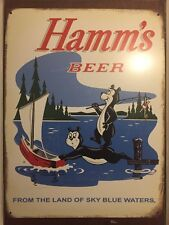 HAMM'S LAND OF SKY BLUE WATERS BEER BEAR & BABY BEAR TIN SIGN Boat Retro Vintage