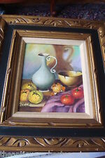 Still Life Oil Painting signed Stuart, great frame handmade in Mexico[8]