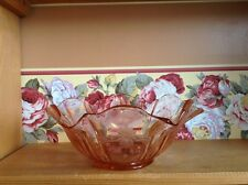 Elegant fancy floral etched ruffle edge rich pink Depression glass bowl