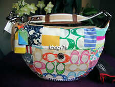 New With Tags Authentic Coach Patchwork Small Hobo Multicolor Purse Bag 10441