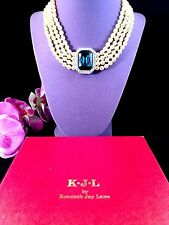 NIB KENNETH LANE SAPPHIRE FAUX PEARL CRYSTAL RHINESTONE PRINCESS CHOKER NECKLACE