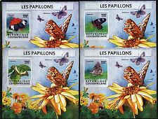 CENTRAL AFRICA 2015 BUTTERFLIES SET OF FOUR DELUXE SOUVENIR SHEET MINT NH