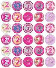 2nd Birthday Girl Pink Cupcake Toppers Edible Wafer Paper BUY 2 GET 3RD FREE