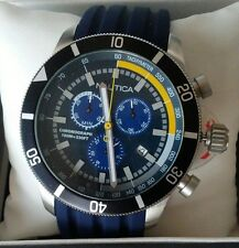 Nautica NAD18536G 40 Chronograph Blue/Yellow Silicone Mineral Glass Watch $185
