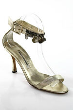 Manolo Blahnik Gold Metallic Leather Coin Sequined Ankle Strap Sandals Size 37 7
