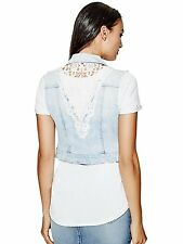 Guess Womens Vest Jacket Denim Elia Crochet Cropped Denim Vest S Light Wash NWT