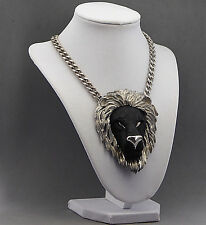 CHUNKY VINTAGE RAZZA LION HEAD PENDANT BLACK SILVER CHAIN STATEMENT NECKLACE