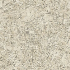 Modern Art Vintage Unique Old City Traffic Map Design Wallpaper Double Roll