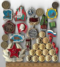 RARE Old Russian Civil Pin CCCP Army Cold War Medal Badge Coin Collection Lot RU