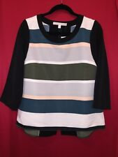 NWT Anthropologie Rugby Stripe Blouse By Troubadour Size 8 Green