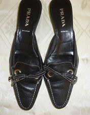 Lady's Prada Open Back Pointy Black Leather Heels Pump w/Bow Shoe sz 38.5 (8.5)