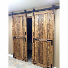 10FT Biparting Double Antique Barn Door Roller Track Sliding Closet Hardware Kit