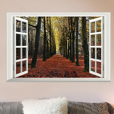 Autumn Fake Window Tree View Decal WALL STICKER Decor Art Mural Scenery Nature