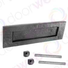 LETTER BOX PLATE Front Door Post Sprung Black Antique Cast Iron Decorative Bolts