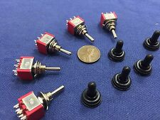 5 pieces RED Waterproof Momentary Mini Toggle Switch (ON)-OFF-(ON) 6 pin 1/4 A5