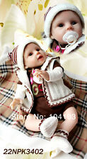 Nicery Reborn Baby Doll Soft Silicone Girl Toy 22in. 55cm Brown White Coat