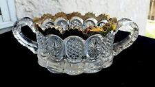 """U S GLASS """"THE STATES""""  OPEN INDIVIDUAL SUGAR BOWL WITH GOLD TRIM"""