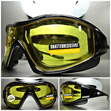 SPORT MOTORCYCLE BIKER Day - Night Riding Yellow Lens PADDED SUN GLASSES GOGGLES