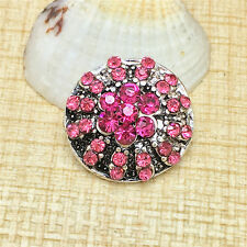 Fashion Pink Rhinestone Charm Chunk Snap Button fit for Noosa Bracelet IOP117