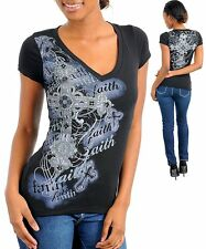 M06 Black/Gray -S/Small- Cotton,Stretch Cross Tattoo Print Top with Sparcles